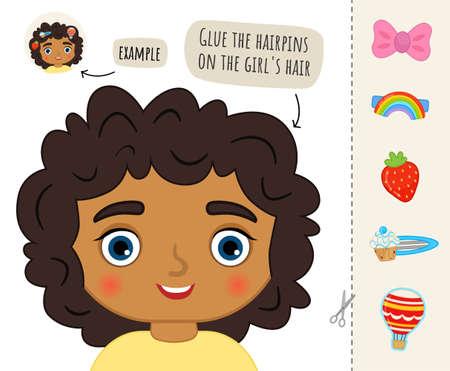 Education paper game for preshool children. Vector illustration of cute girl. Illustration