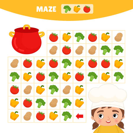 Maze game for children. Help the cook make vegetable soup.