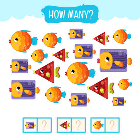 Counting educational children game, math kids activity sheet. How many fish of different shapes