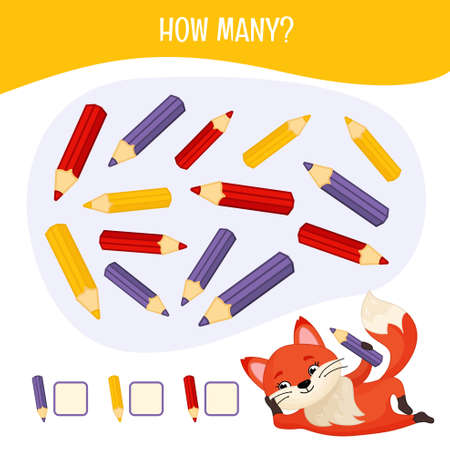 Counting educational children game, math kids activity sheet. How many pencils