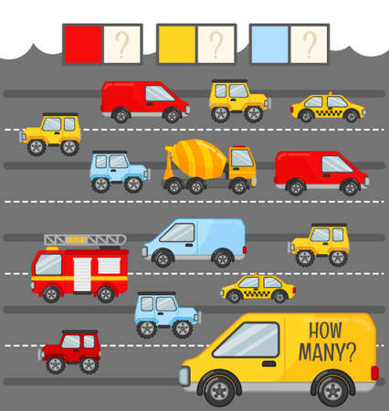 Counting educational children game, math kids activity sheet. How many cars of red, blue and yellow color?