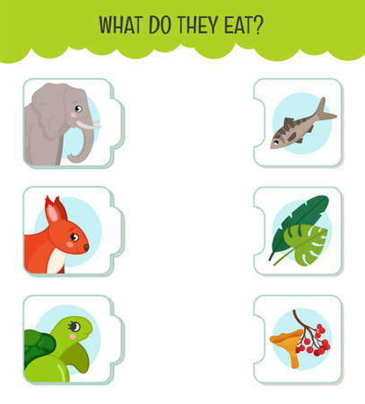Matching children educational game. What do they eat ?. Activity for pre s�hool years kids and toddlers. Animals and food. Illustration