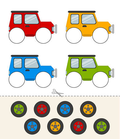 Education paper game for preshool children. Glue the wheels to the car of the same color. Activity for pre s�hool years kids and toddlers.
