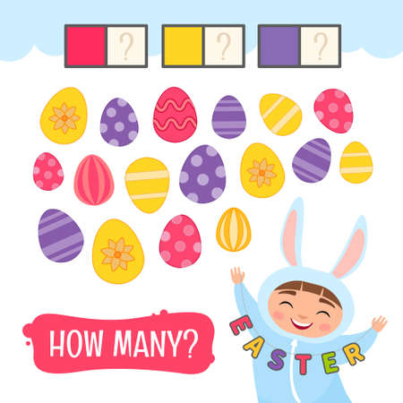 Counting educational children game, math kids activity sheet. How many Easter eggs of yellow, pink and violet color?