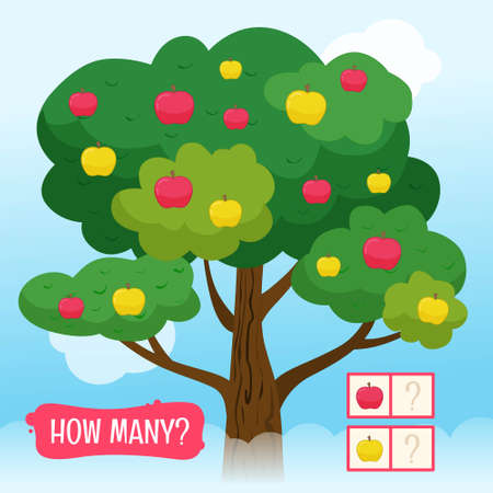 Counting educational children game, math kids activity sheet. How many pink and green apples?