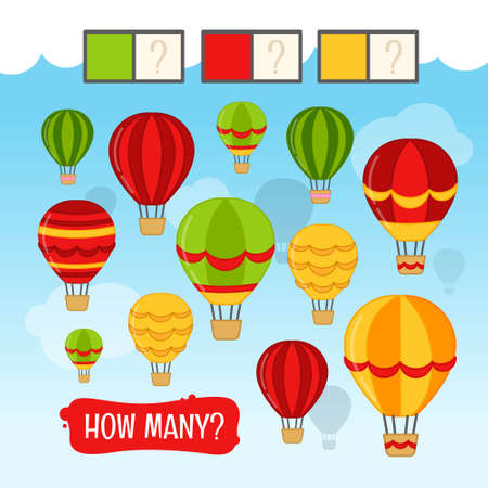 Counting educational children game, math kids activity sheet. How many air balloons of green, red and yellow colors?