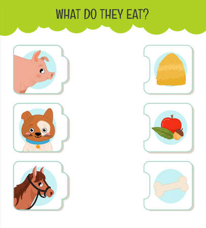 Matching children educational game. What do they eat ?. Activity for pre s�hool years kids and toddlers. Animals and food. Banque d'images