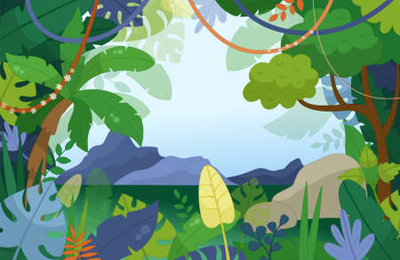 Illustration of a jungle landscape in cartoon style. Trees and palms frame the mountain landscape.