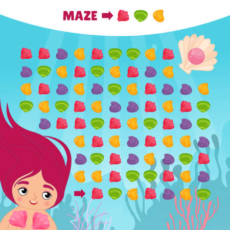 Maze game for children. Help the mermaid reach the pearl.
