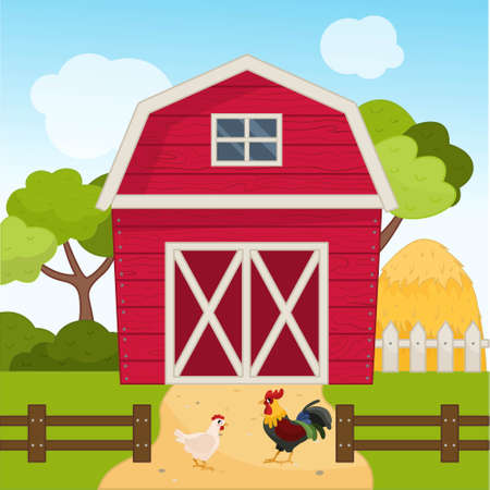 Illustration of a farm landscape in cartoon style. Red barn on the field. Farm scene with cock and hen. Ilustração