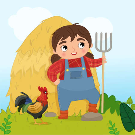 Vector farm illustration in cartoon style. Girl holding a pitchfork.