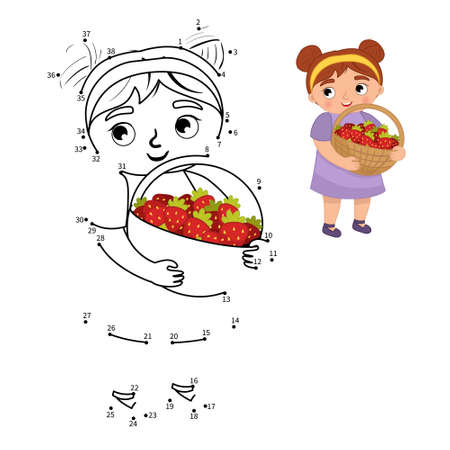 Educational game for kids. Dot to dot game for children. Cute girl holding a basket of strawberries.