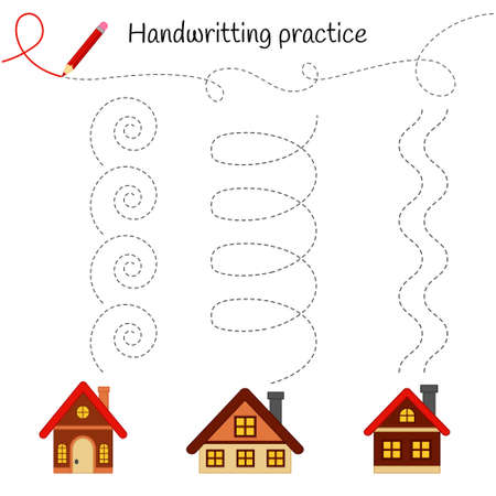 Handwriting practice sheet. Basic writing. Educational game for children. Draw smoke from the chimney of houses.