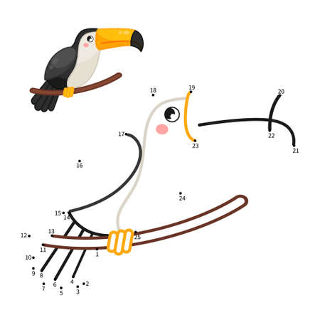 Educational game for kids. Dot to dot game for children. Cartoon toucan.