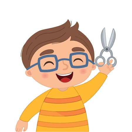 Vector illustration of a boy with scissors in her hands in cartoon style.