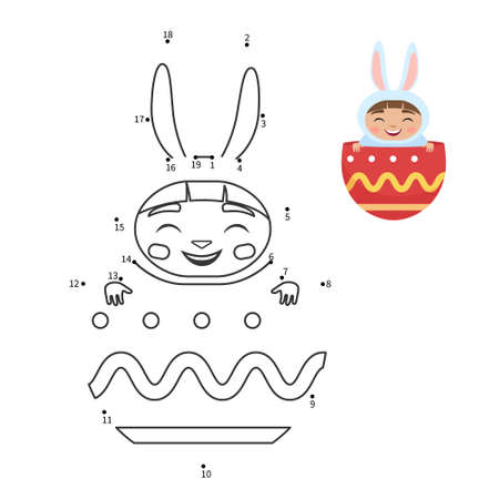 Educational game for kids. Dot to dot game for children. Cartoon cute Easter Bunny