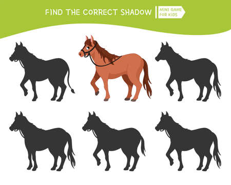 Educational game for children. Find the right shadow. Kids activity with cute horse. Ilustração