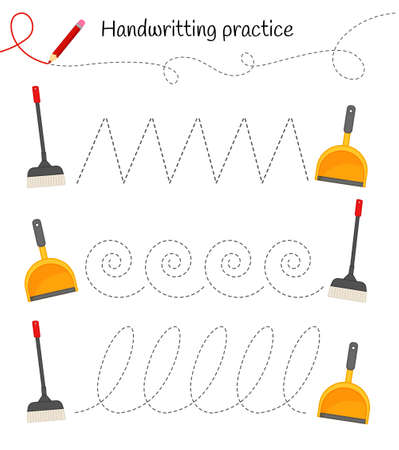 Handwriting practice sheet. Basic writing. Educational game for children. Help sweep up the trash.
