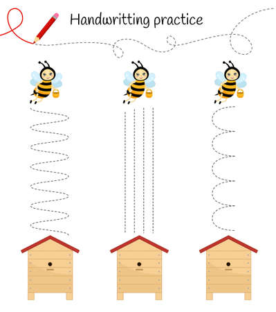 Handwriting practice sheet. Basic writing. Educational game for children. Help the bees to get to their homes.