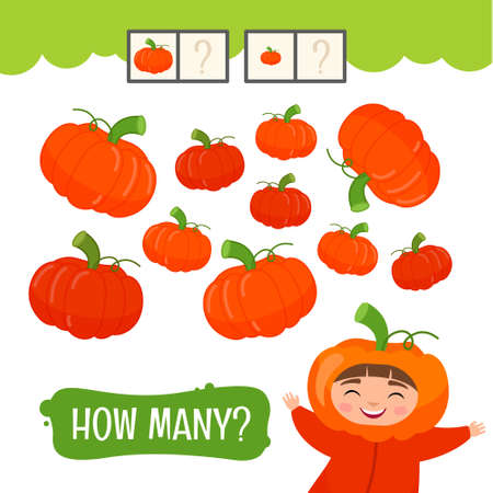 Counting educational children game, math kids activity sheet. How many objects task. Cartoon pumpkin.