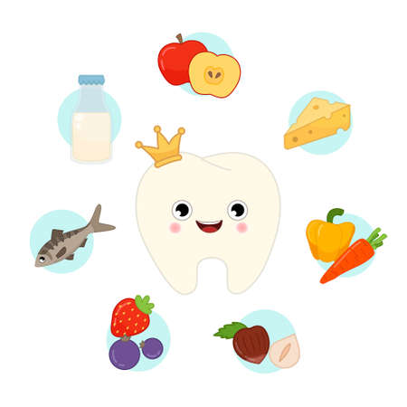 Vector set of useful products for teeth. Illustration of a cute cartoon tooth. Infographics with food icons.