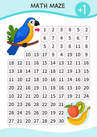Math maze game for children. Help the parrot get fruit.