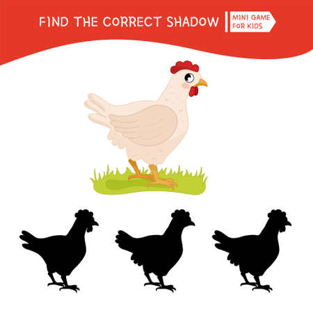 Educational game for children. Find the right shadow. Kids activity with cute cartoon hen. Farm animals collection. Ilustração