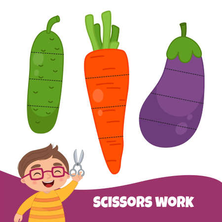 Education paper game for preshool children. Working with scissors. Cut the vegetables into pieces. Ilustração