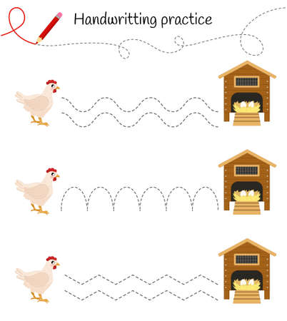 Handwriting practice sheet. Basic writing. Educational game for children. Help the chickens get to their house. Ilustração