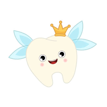 Tooth fairy vector cartoon illustration. Cute character tooth with wings and crown. Ilustração