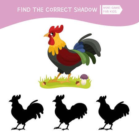 Educational game for children. Find the right shadow. Kids activity with cute cartoon cock. Farm animals collection.