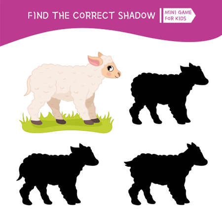 Educational game for children. Find the right shadow. Kids activity with cute cartoon sheep. Farm animals collection. Ilustração