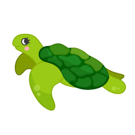 Collection of marine animals in cartoon style. Vector illustration of turtle.