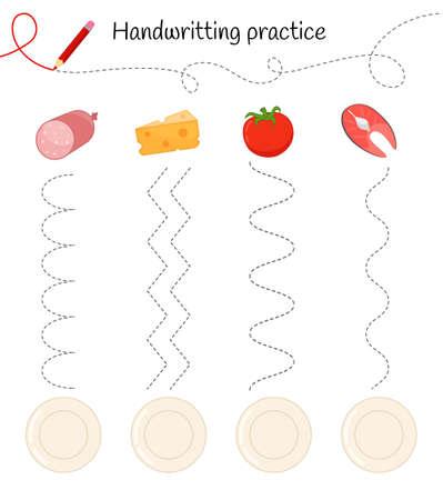 Handwriting practice sheet. Basic writing. Educational game for children. Arrange food on plates. 矢量图像