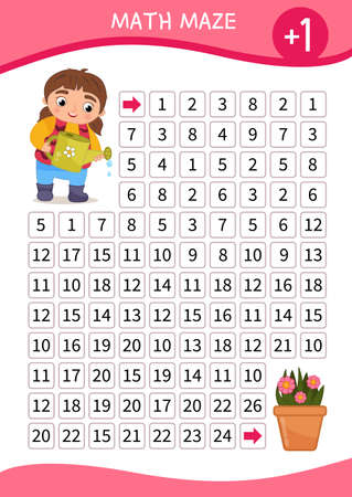 Math maze game for children. Help the girl to water the flower. Ilustração