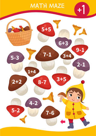 Math maze game for children. Help the girl to collect mushrooms in a basket.