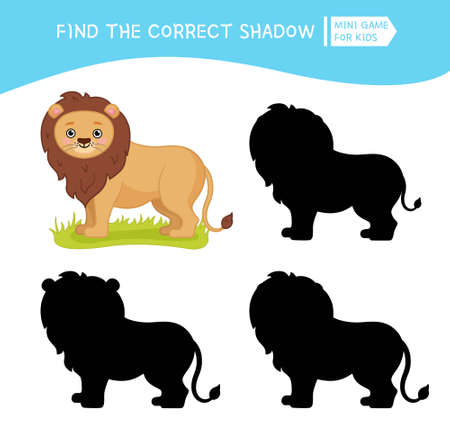Educational game for children. Find the right shadow. Kids activity with cute lion. African animals collection.