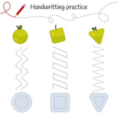 Handwriting practice sheet. Basic writing. Educational game for children. Put the apples on the plates. Ilustração