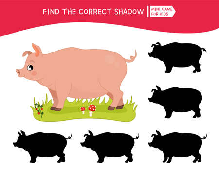 Educational game for children. Find the right shadow. Kids activity with cute cartoon pig. Farm animals collection.