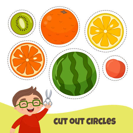 Education paper game for preshool children. Working with scissors. Cut in a circle. Ilustração