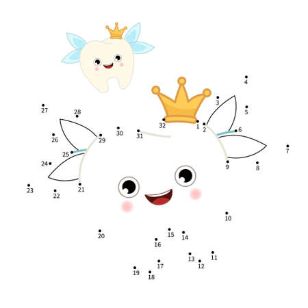 Educational game for kids. Dot to dot game for children. Cartoon cute tooth. 矢量图像
