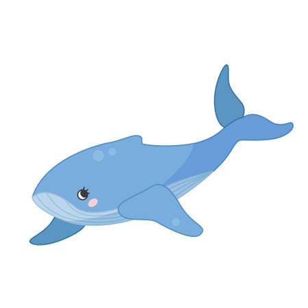Collection of marine animals in cartoon style. Vector illustration of whale. Ilustração