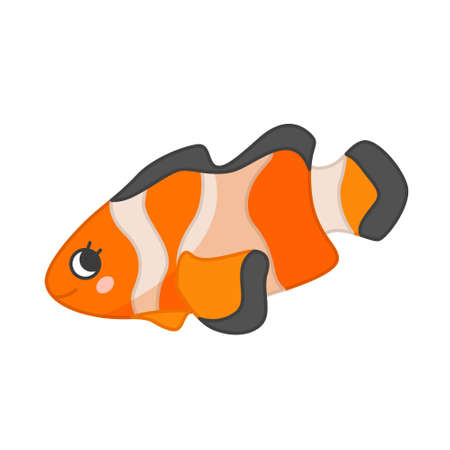 Collection of marine animals in cartoon style. Vector illustration of clown fish Ilustração