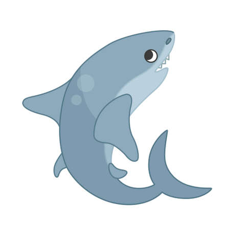 Collection of marine animals in cartoon style. Vector illustration of shark. Ilustração