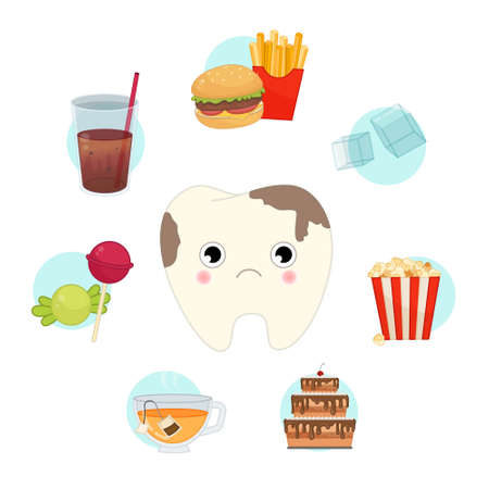 Vector set of junk food for teeth. Illustration of a cute cartoon sick tooth. Infographics with food icons.