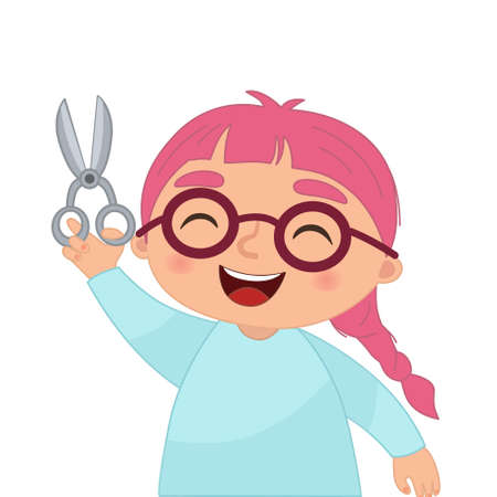 Vector illustration of a girl with scissors in her hands in cartoon style.
