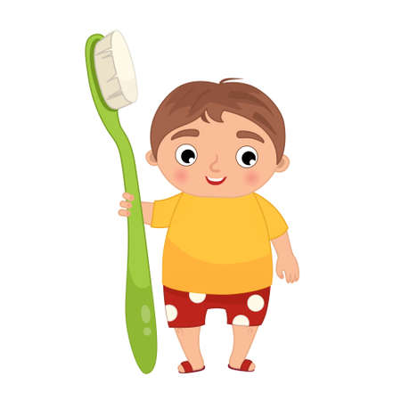 Cute boy holding a toothbrush Vector illustration in cartoon style. Ilustração
