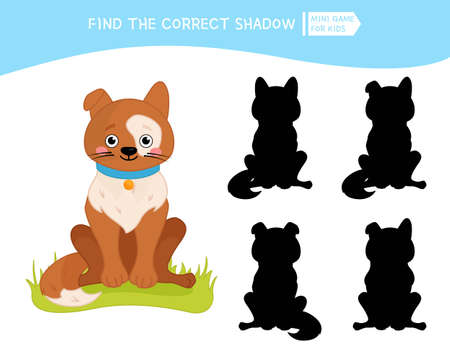 Educational game for children. Find the right shadow. Kids activity with cute cartoon dog. Farm animals collection. Ilustração