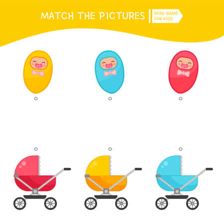 Matching children educational game. Put babies in the correct color of the stroller. Activity for pre sсhool years kids and toddlers.