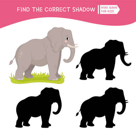 Educational game for children. Find the right shadow. Kids activity with cute elephant. African animals collection.